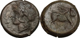 Greek Italy. Samnium, Southern Latium and Northern Campania, Cales. AE 20mm, 265-240 BC. D/ Head of Apollo left, laureate. R/ Man-headed bull right; a...