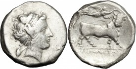 Greek Italy. Central and Southern Campania, Neapolis. AR Didrachm, c. 300-275 BC. D/ Diademed head of nymph Parthenope right, wearing earring and neck...