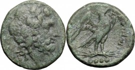 Greek Italy. Eastern Italy, Larinum. AE Quadrunx, c. 210-175 BC. D/ Head of Zeus right, laureate. R/ Eagle standing right on thunderbolt; in exergue, ...