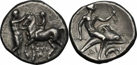Greek Italy. Southern Apulia, Tarentum. AR Nomos, circa 280-272 BC. Time of Pyrrhos of Epiros. Aristipp-, Gu-, and Di, magistrates. D/ Youth on horseb...