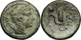 Greek Italy. Lucania, Poseidonia-Paestum. AE Uncia, 218-201 BC. D/ Head of Artemis right; behind, bow and quiver. R/ Corn-ear with two leaves; to uppe...