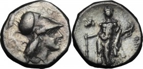Greek Italy. Southern Lucania, Heraclea. AR Didrachm, 281-278 BC. D/ Head of Athena right, helmeted. R/ Herakles standing left, holding club, lion's s...