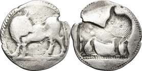 Greek Italy. Southern Lucania, Sybaris. AR Stater, 550-510 BC. D/ Bull standing left, head turned back. R/ Incuse bull standing right, head turned bac...