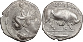 Greek Italy. Southern Lucania, Thurium. AR Stater, 400-350 BC. D/ Head of Athena right, wearing helmet decorated with Scylla. R/ Bull charging right; ...