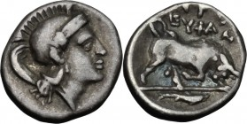 Greek Italy. Southern Lucania, Thurium. AR Triobol, 400-350 BC. D/ Head of Athena right wearing plain helmet. R/ Bull charging right; in exergue, fish...
