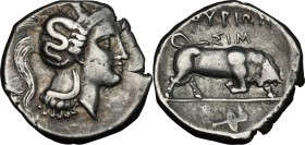 Greek Italy. Southern Lucania, Thurium. AR Nomos, c. 350-300 BC. D/ Head of Athena right, wearing crested Attic helmet decorated with Skylla. R/ ΘOYPI...