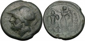 Greek Italy. Bruttium, The Brettii. AE Didrachm, 214-211 BC. D/ Head of Ares left, helmeted. R/ Nike standing left, crowning trophy; between, anchor. ...