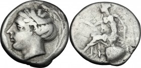 Greek Italy. Bruttium, Terina. AR Stater, 440-425 BC. D/ Female head left, within olive-wreath. R/ Nike seated left on hydria, holding wreath in exten...