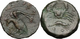 Sicily. Akragas. AE Hemilitron, 450-406 BC. D/ Eagle left on hare. R/ Crab; below, crayfish. CNS 25. AE. g. 14.95 mm. 26.00 Good VF.