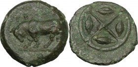 Sicily. Gela. AE Onkia, 420-405 BC. D/ Bull left: in exergue, pellet. R/ Wheel with four spokes, in each quarter, grain of barley. CNS III, 2. AE. g. ...
