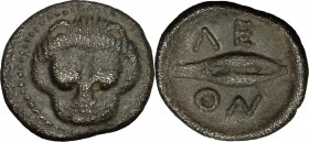 Sicily. Leontini. AR Litra, 485-465 BC. D/ Lion's head facing. R/ Grain of barley. SNG ANS 213. SNG München 546. AR. g. 0.65 mm. 10.00 Toned. About EF...