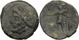 Sicily. Panormos, under Roman rule. AE 21mm, after 241 BC. D/ Head of Zeus left, laureate. R/ Warrior standing left, holding patera and spear; to righ...