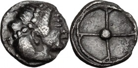 Sicily. Syracuse. AR Litra, c. 475-470 BC. D/ Diademed head of Arethusa right. R/ Wheel of four spokes. Boehr. 362-373; HGC 2, 1371. AR. g. 0.48 mm. 7...