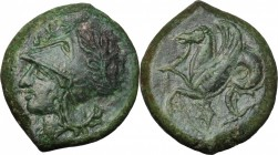 Sicily. Syracuse. Dionysos I to Dionysos II. AE 21 mm, circa 375-344 BC. D/ Head of Athena left, wearing Corinthian helmet decorated with wreath. R/ H...
