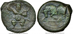 BALEARIC ISLANDS. Ebusus. 2nd-1st centuries BC. AE quarter unit (17mm, 3.22 gm, 11h). NGC VF 4/5 - 3/5. Bes standing facing, mace upward in right hand...