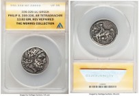 MACEDONIAN KINGDOM. Philip II (359-336 BC). AR tetradrachm (27mm, 13.83 gm, 6h). ANACS VF 35, reverse repaired. Pella. Laureate head of Zeus right / Φ...