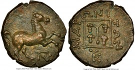 THRACE. Maroneia. 4th century BC. AE (13mm, 3.34 gm, 11h). NGC Choice AU S 5/5 - 5/5. Horse prancing right; monogram below / MAPΩNITΩN, round vine wit...