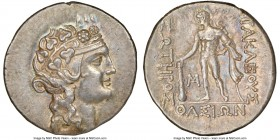THRACIAN ISLANDS. Thasos. Ca. 2nd-1st centuries BC. AR tetradrachm (31mm, 16.67 gm, 10h). NGC Choice AU S 5/5 - 4/5. Head of Dionysus right, crowned w...