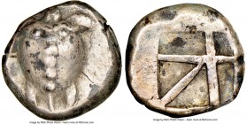 SARONIC ISLANDS. Aegina. Ca. 480-457 BC. AR stater (21mm, 12.28 gm). NGC XF 4/5 - 3/5. Sea turtle, viewed from above, head turned sideways, with trefo...