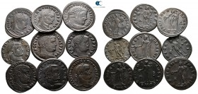 Lot of ca. 9 late roman bronze coins / SOLD AS SEEN, NO RETURN!very fine