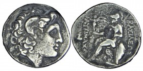 KINGS OF THRACE, Lysimachos (305/281) BC. Tetradrachm Lampsakos mint. Struck circa 297/6-282/1 BC.  Diademed head of the deified Alexander right, with...