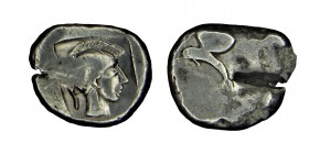 PAMPHYLIA, Sıde. 479/460 BC. Sılver, pomegranate: below, dolphin left /helmeted head of athena, right, within incuse square . Condition: good  11,2 gr...