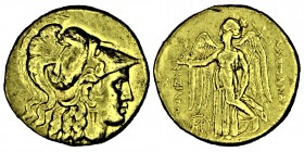 Kings of Macedon. Alexander III 'the Great'. Stater. .(336-333) BC. Macedonia. (Cy-1264). (Müller-735). Obv.: Helmeted head of Athena right, wearing C...