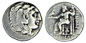 Kingdom of Macedon, Philip III. (336 323) BC. sılver drachm, .Head of Heracles to right, wearing lion skin headdress. Rev. ΑΛΕΞΑΝΔΡΟΥ Zeus seated on b...