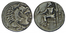 Kings of Macedon. Alexander III, lampsacus, (336-323) BC. Silver, drachm. . Struck under Herakles right, wearing lion's skin / Zeus Aëtophoros seated ...