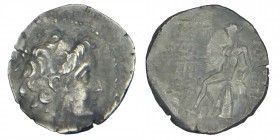 SELEUKID KINGS of SYRIA. Demetrios II. (145-138), BC. Sılver drachm. Antioch mint. Struck year 168 (145/5 BC). Diademed head right / Apollo seated lef...