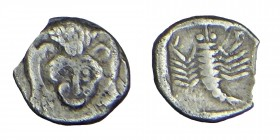 obol, (521 /520 BC)  obv. Facing lion's forepart rev. Scorpion within incuse square, Condition: nıce, very, good 0,50 gr. 7,7 mm.