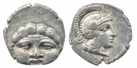 PISIDIA. Selge. Obol Circa (350/300) BC. Obv. Facing gorgoneion. Rev. Helmeted head of Athena right within incuse circle. SNG France 1929/34 var. Cond...