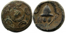 KINGS OF MACEDON. Philip III Arrhidaios (323-317 BC). Ae 1/2 Unit. Uncertain mint in western Asia Minor. Macedonian shield Rev: Helmet. Controls: kery...