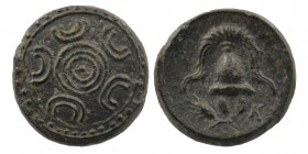 "Kings of Macedon. Uncertain mint. Alexander III ""the Great"" 336-323 BC. Macedonian shield Rev: Helmet/ Grain below.right monogram K 3,39 gr. 15 mm"