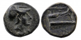KINGS OF MACEDON. Demetrios I Poliorketes, 306-283 BC. AE Uncertain mint in Asia Minor, circa 290-283 Obv: Head of Athena to right, wearing crested Co...