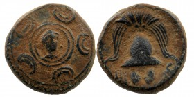 KINGS OF MACEDON. Philip III Arrhidaios (323-317 BC). Ae 1/2 Unit. Uncertain mint in western Asia Minor. Macedonian shield; on boss, head of Herakles ...