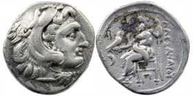 "Kings of Macedon. Alexander III ""the Great"" 336-323 BC. Drachm AR Head of Herakles right, wearing lion skin. Rev: Zeus seated left on throne, holding ..."