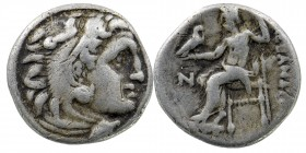 Kingdom of Macedon, Alexander III 'the Great' AR Contemporary Drachm. Following 'Babylon', after 323 BC.  Head of Herakles right, wearing lion skin he...