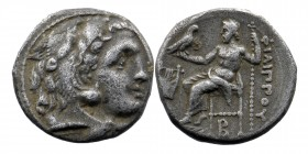 Kingdom of Macedon, Philip III Arrhidaios AR Drachm.  In the types of Alexander III. Kolophon, circa 323-319 BC.  Obv: Head of Herakles right, wearing...