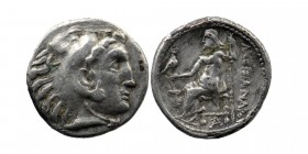 Kingdom of Macedon, Alexander III 'the Great' AR Drachm. Sardes, circa 323-319 BC. Head of Herakles right, wearing lion skin headdress / Zeus Aëtophor...