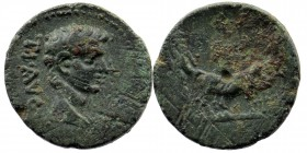 MACEDON. Uncertain (Philippi?). Augustus (27 BC-14 AD) AE . Obv: AVG. Bare head right. Rev: Two pontiffs driving team of oxen right, plowing pomerium....