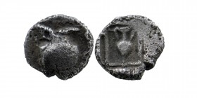 Asia Minor, Uncertain city Circa 450 BC, Obol Obv: Helmet right Rev: Amphora within an incuse square.  Ref G&M 176