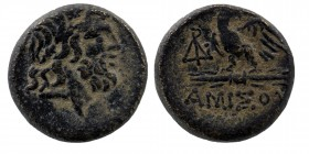 PONTOS. Amisos. Ae (Circa 100-85 BC). Obv: Laureate head of Zeus right. Eagle, with head right, standing left on thunderbolt; monogram to left. SNG BM...