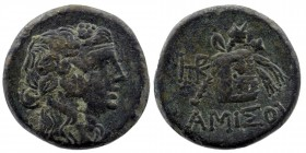PONTOS. Amisos. Time of Mithradates VI Eupator (Circa 105-90 or 90-85 BC). Ae. Obv: Head of Dionysos right, wearing ivy wreath. Rev: AMIΣOY. Thyrsos l...
