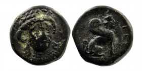 Troas, Gergis. 4th century B.C. AE 17  Laureate head of the sibyl Herophile facing slightly right  Rev: Sphinx seated right.  SNG Cop 338; SNG von Aul...