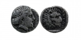 Troas, Antandros AR Diobol. Circa 5th century  BC. Head of Artemis Astyrene right / Head of lion right, ANTAN before; all within incuse square.  SNG v...