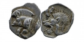 Kyzikos, Mysia. AR Obol. 450-400 BC. Forepart of boar left, tunny behind./Head of lion left. SNG France 369-70; SNG Aulock 7331. 0,40 gr. 10 mm