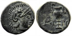 AEOLIS. Myrina. Ae (Circa 5th-3rd centuries BC).  Obv: Helmeted head of Athena right.  Rev: MY - PI. Amphora.  BMC 20 1,04 gr. 11 mm
