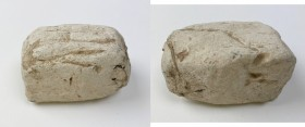 Punic Sardinia. Lead weight, VII-V century BC. On upper face, graffiti (marks of value?)