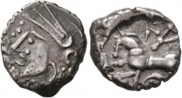CELTIC, Central Gaul. Lingones. Circa 1st century BC. Quinarius (Silver, 12 mm, 1.90 g, 10 h), 'Kaletedou' type. Celticized head of Roma to left. Rev....